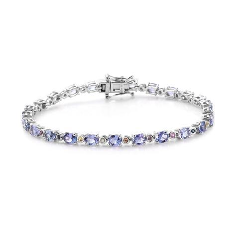 925 Silver Blue Tanzanite Purple Sapphire Bracelet Size 8 In Ct 9.4 - Bracelet 8''