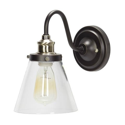 Globe 64932 Dimmable Single Light Wall Sconce with Clear Glass