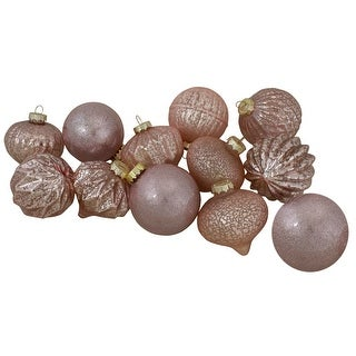 """Link to Set Of 12 Rose Gold 2-Finish Glass Christmas Ornaments 6"""" (152mm) Similar Items in Christmas Decorations"""