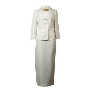 Kasper Women's Pleated-Collar Woven Long Skirt Suit - Vanilla Ice