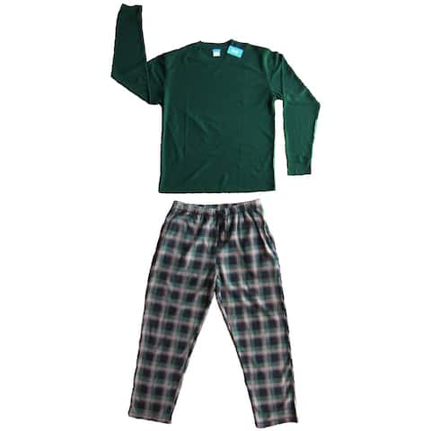 Men's 2 PC Thermal Top & Fleece Lined Pants Pajamas Set (Hunter Green)