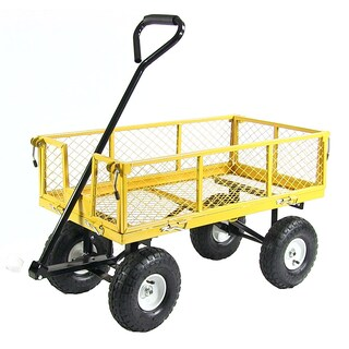 Sunnydaze Utility Cart with Removable Folding Sides, 400 Pound Weight Capacity - Multiple Colors (Option: Yellow)