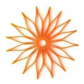 HIC 16814 Spice Ratchet Blossom Multi-Use Silicone Trivet, Orange