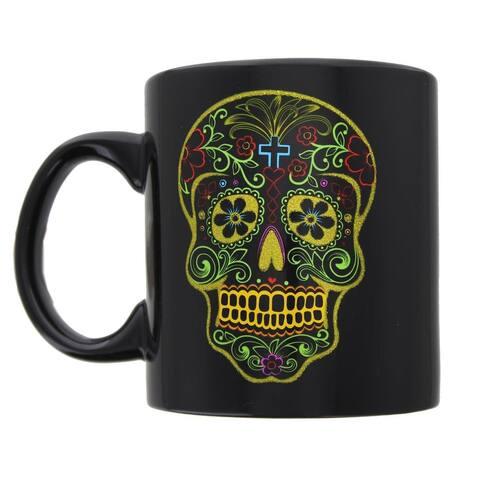Heart Skull Sugar Skull Mug - Black