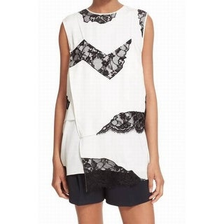 DKNY NEW White Illusion Floral Lace Women's Size Small S Blouse Silk