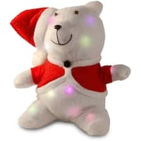 """13"""" Red Christmas Santa Bear Table Topper with Flashing LED Lights"""