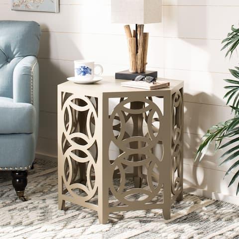 "SAFAVIEH Natanya Pearl Taupe Side Table - 22.8"" x 22.8"" x 22.2"""