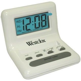Westclox 47539 8 White Lcd Alarm Clock With Light On Demand