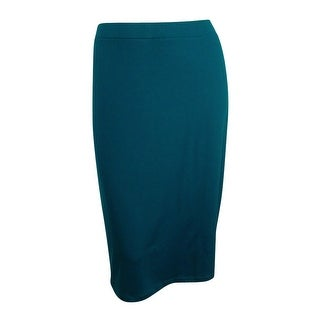 Kasper Women's Plus Size Pull-On Pencil Skirt - peacock