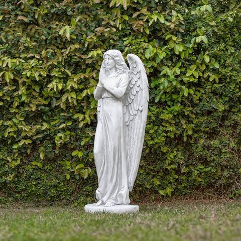 Alpine 47-Inch Indoor/Outdoor Praying Angel Statue, Light Gray