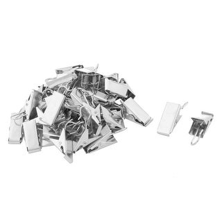 Home Metal Window Curtain Drapery Hanging Hook Clips Clamps Silver Tone 40pcs - Silver Tone