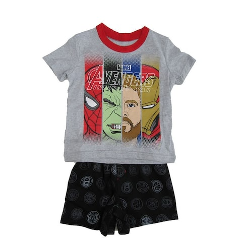 Marvel Little Boys Gray Red Avengers Print T-Shirt 2 Pc Shorts Outfit