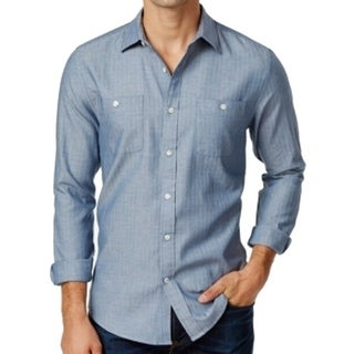 Tommy Hilfiger NEW Blue Chambray Mens Size XL Button Down Cotton