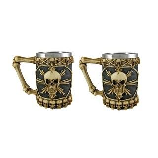 Ossuary Skull Beer Stein Set of 2 Tankard Skulls