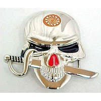 Chrome & Enamel Grinning Skull W/ Sword Belt Buckle