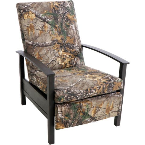 Hanover Cedar Ranch Outdoor Patio Deep Seating Recliner with Thick Real Tree Printed Camo Cushions - Brown