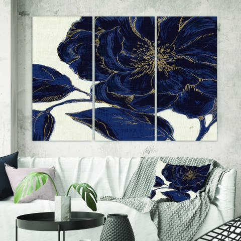 Porch & Den 'Dark Rose Gilded Gold' Floral Canvas Artwork Print