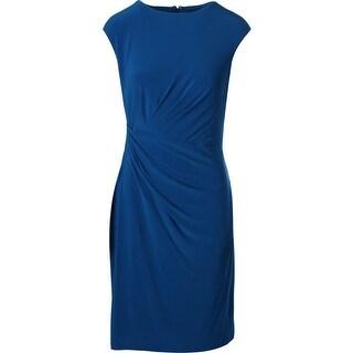 Lauren Ralph Lauren Womens Gathered Sleeveless Wear to Work Dress