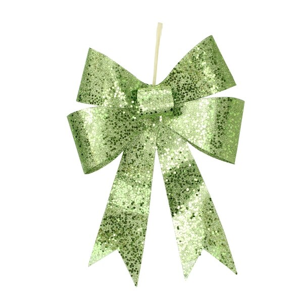 """12"""" Lime Green Sequin and Glitter Bow Christmas Ornament"""
