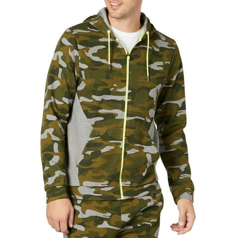 Ideology Mens Sweater Native Green Size XL Zip Up Camo-Print Hooded