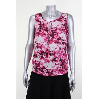 Anne Klein Pink Sleeveless Printed Keyhole Tie-Front Blouse 2