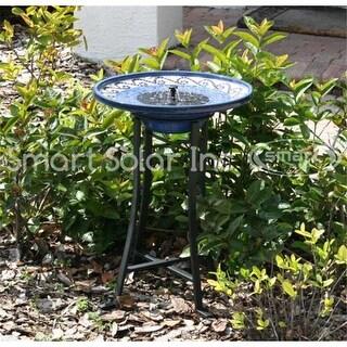 Smart Solar 20747R01 Mosaic Ceramic Solar Birdbath with Metal Stand