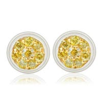 Fabulous 0.26Ct Round Yellow Diamond Screw Back Designer Stud Earring