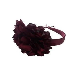 Girls Burgundy Two Carnations Headband Fancy Diadem - One Size