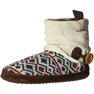 Muk Luks Womens Bootie Slippers Knit Faux Fur Lined - M