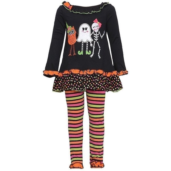 Rare Editions Baby Girls Black Owl Ghost Skeleton Halloween Pant Set 6M