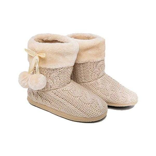 AIREE FAIREE Ladies Slippers Womens Slipper Boots Faux Fur Lined with pom poms