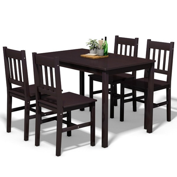 Free Kitchen Table And Chairs: Shop Costway 5PCS Solid Pine Wood Dining Set Table And 4