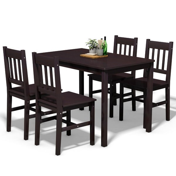 5 Piece Pine Wood Dining Table And Chairs Dining Table Set: Shop Gymax 5 Piece Dining Table Set 4 Chairs Wood Home