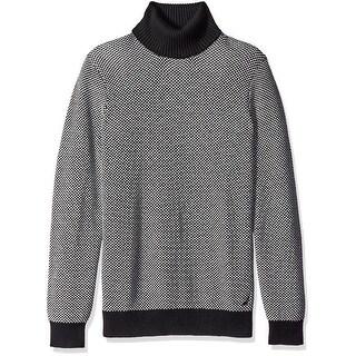 Nautica NEW Black White Mens Size Large L Birdseye Turtleneck Sweater