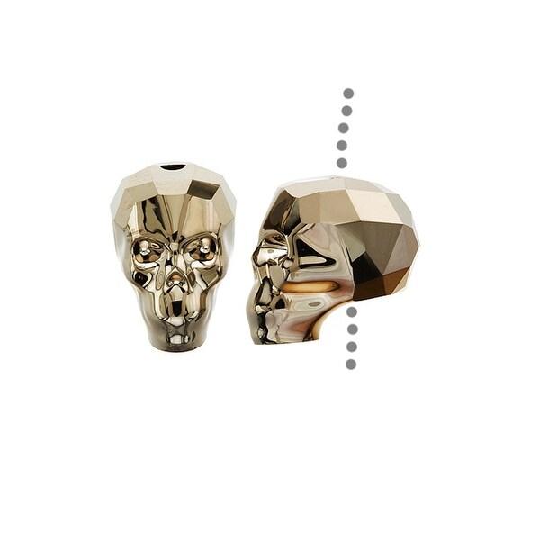 Swarovski Elements Crystal, 5750 Skull Bead 13mm 1 Piece, Crystal Metallic Lt Gold 2X