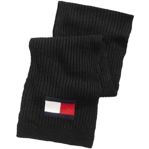 Tommy Hilfiger Mens Scarves Jet Black One Size Knitted Ribbed Logo