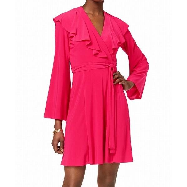 Taylor Pink Fuschia Women's Size 8 Ruffle Surplice Wrap Dress