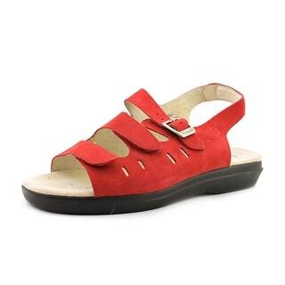 Propet Breeze Walker Women 2E Open-Toe Leather Red Fisherman Sandal