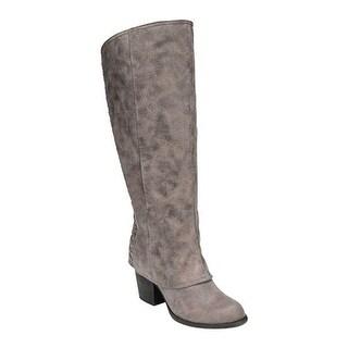 Fergalicious Women's Tinley Knee High Wide Calf Doe Oiled Fabric