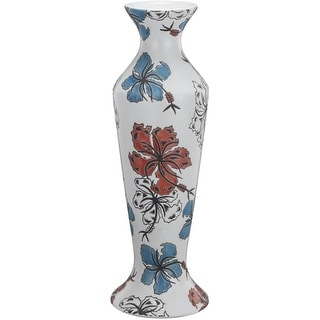 Ceramic Candle Holder With Floral Motifs, Multicolor