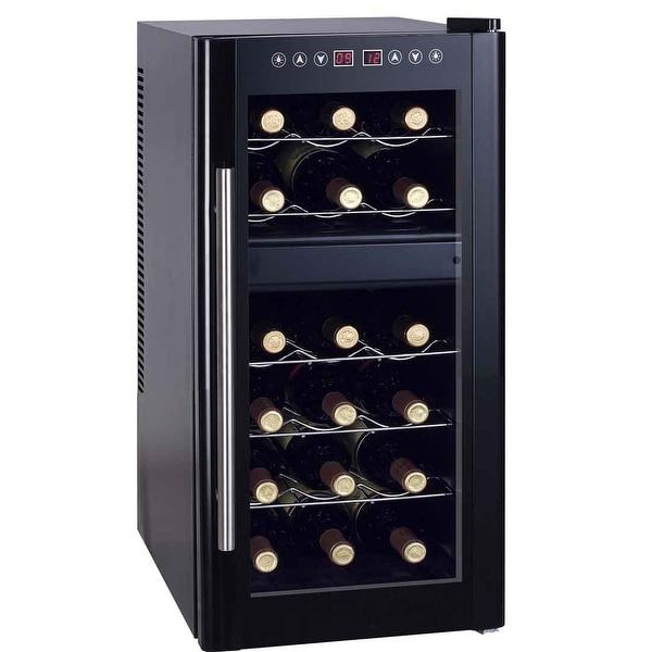 Sunpentown WC-1857DH 18 Bottle Dual Zone Thermoelectric Wine Cooler - Black