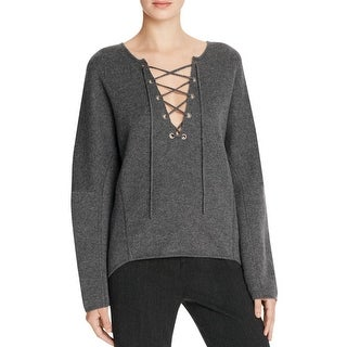Vince Womens Pullover Sweater Cashmere Blend Lace-Up Front