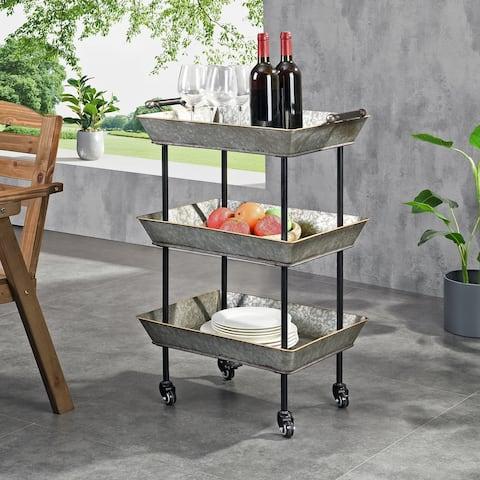 FirsTime & Co. Galvanized Fullerton Indoor Outdoor Bar Cart, Metal