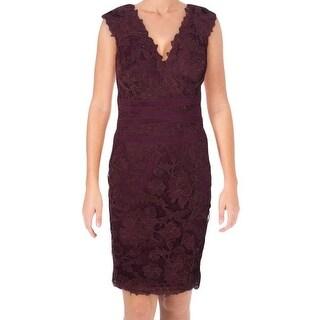 Tadashi Shoji NEW Burgundy Red Womens Size 6 Floral Lace Sheath Dress