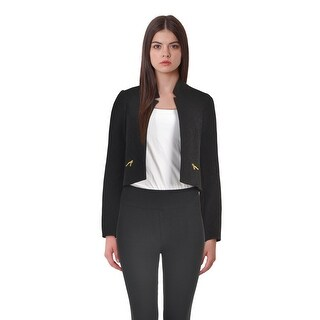 Calvin Klein Petite Open Front Cutout Cropped Long Sleeve Jacket - 2p
