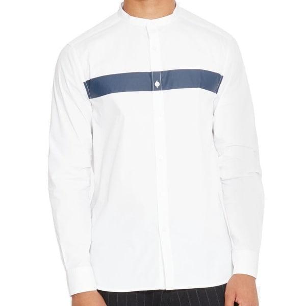 e8de9661 Kenneth Cole Reaction White Blue Men XL Banded Collar Stripe Shirt. Click to  Zoom
