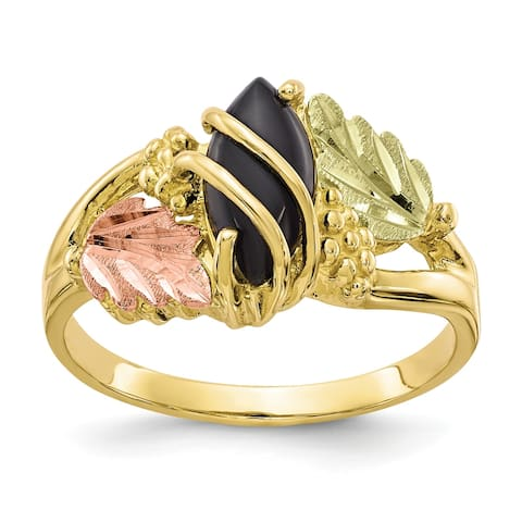 10K Yellow Gold with 12K Rose and Green Accent High Polished Black Hills Onyx Ring