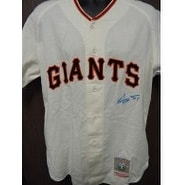 Signed Mays Willie San Francisco Giants Cooperstown Jersey Size L Light bleeding of the signature a