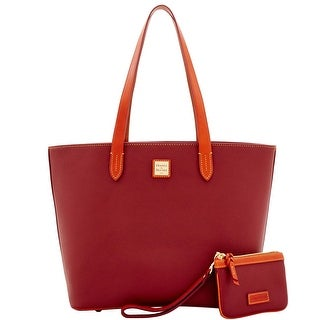 Dooney & Bourke Eva Large Zip Shopper & Medium Wristlet (Introduced by Dooney & Bourke at $268 in May 2017) - CRANBERRY