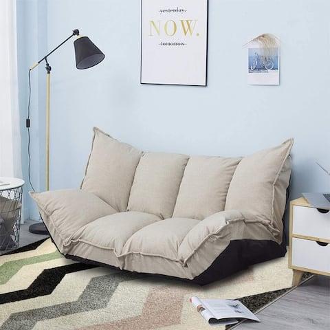 Lazy Sofa Futons Sets Adjustable Sofa TV Floor Couch Folding Sofa Bed Entertainment Beige
